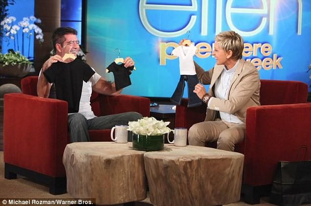 Ellen presents Simon with a mini me outfit