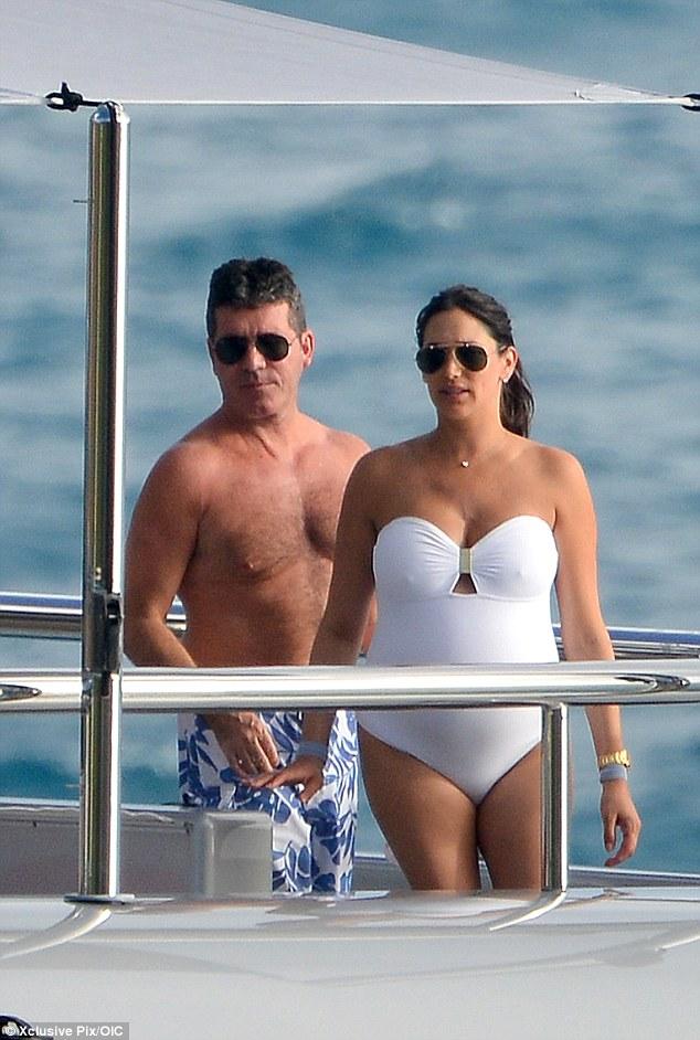 simon cowell, lauren sliverman, yacht, holiday, caribbean, vactation